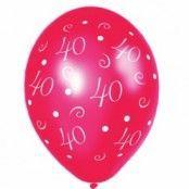 40-års jubileum ballonger - röda - 28 cm latex - 25 st