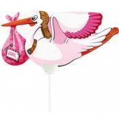 Ballong med pinne - Rosa stork