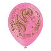 Ballonger Enhörningshuvud Rosa - 6-pack