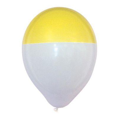 Ballonger Gul/Vit Dipp - 25-pack