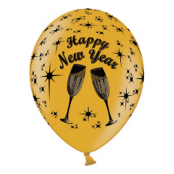 Ballonger Happy New Year Guld - 6-pack