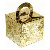 Ballongvikt Presentbox av Papp Stjärnor Guld Holografisk - 10-pack
