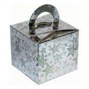 Ballongvikt Presentbox av Papp Stjärnor Silver Holografisk - 10-pack