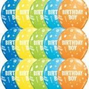 Birthday Boy blandade ballonger - 28 cm latex - 6 st