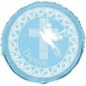 Blå Duva & kors dop blå ballong - 46 cm folie