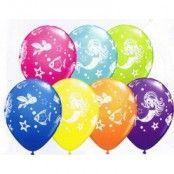 Blandade ballonger med sjöjungfru - 28 cm latex - 25 st