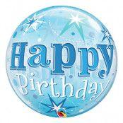 Bubbelballong Happy Birthday Blå
