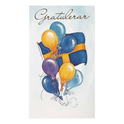 Dubbelkort Gratulerar med Flagga & Ballonger