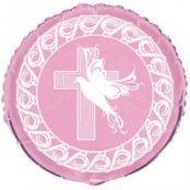 Duva & kors rosa ballong - 46 cm i folie