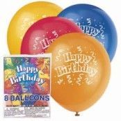 "Flerfärgade ""Happy Birthday"" ballonger - latex - 8 st"