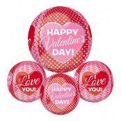 Folieballong Orbz Happy Valentine's Day