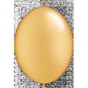 Guldfärgade länkbara ballonger - 15 cm latex - 50 st