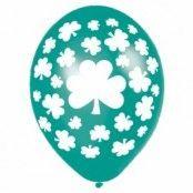 Happy St Patrick's day vitklöver ballonger - 28 cm latex - 6 st