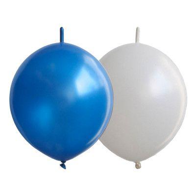 Kedjeballonger Vita/Blå - 25-pack