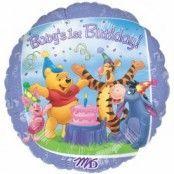 Nalle puhs 1-års födelsedag ouppblåst ballong - 46 cm folie