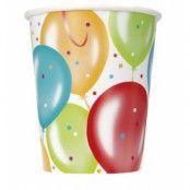 Pappersmuggar - Ballongfödelsedag - 27 cl 8 st