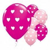 Rosa Ballonger med Vita Hjärtan - 6-pack