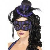 Burlesk hatt och ögonmask ränder lila och svart
