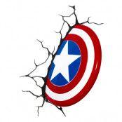 Captain America Sköld 3D Vägglampa