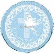 Blå duva & kors nattvardsballong - 46 cm folie
