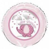 Rosa rund folieballong med söt elefant och paraply - till babyshowern - 46 cm