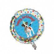 Rund folieballong med hund och hundtassar - 46 cm