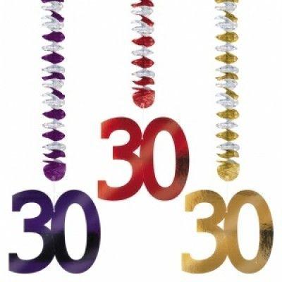 30-års hängande girlanger av folie - 3 st