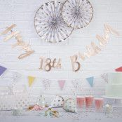 Girlang Happy 18th Birthday Guld Metallic