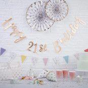 Girlang Happy 21th Birthday Guld Metallic