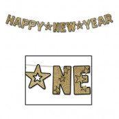 Girlang Happy New Year Guld/Glitter