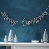 Girlang Merry Christmas Silver Glitter