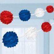 Girlang pom poms - röd, vit och blå 3,65 m - 2 st