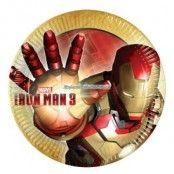 Iron man runda papperstallrikar 23 cm - 8 st