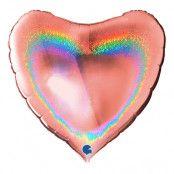 Folieballong Hjärta Glitter Roséguld