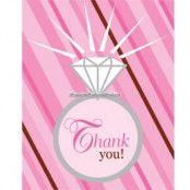 """Tackkort """"Thank you"""" för möhippan eller bröllopet - 8 st"""