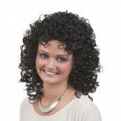 Svart lockig peruk