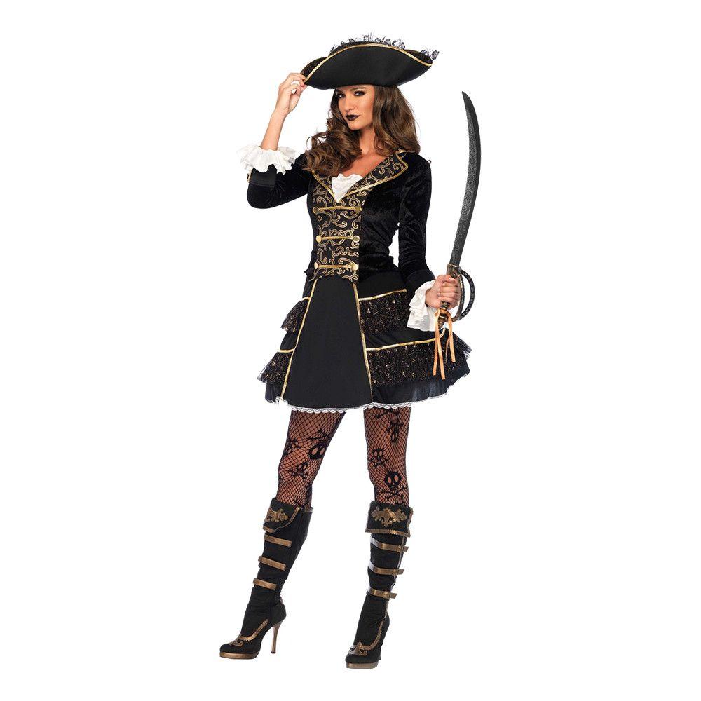 Pirat Kapten Dam Deluxe Maskeraddräkt Small Halloweenbutiken