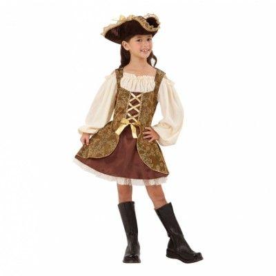 7ed1df1fe11e Piratflicka Guld Barn Maskeraddräkt - Small - Halloweenbutiken