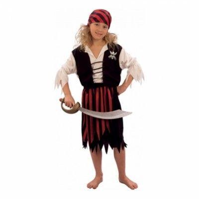 Randig Piratflicka Barn Maskeraddräkt - Small - Halloweenbutiken 77a3f2dad7302