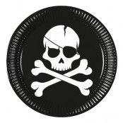 Papperstallrikar Jolly Roger - 8-pack