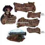 Pirat skyltar pappfigurer - 4 st