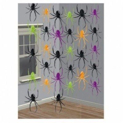 Halloween spindlar hängande dekoration på snöre - 6 st